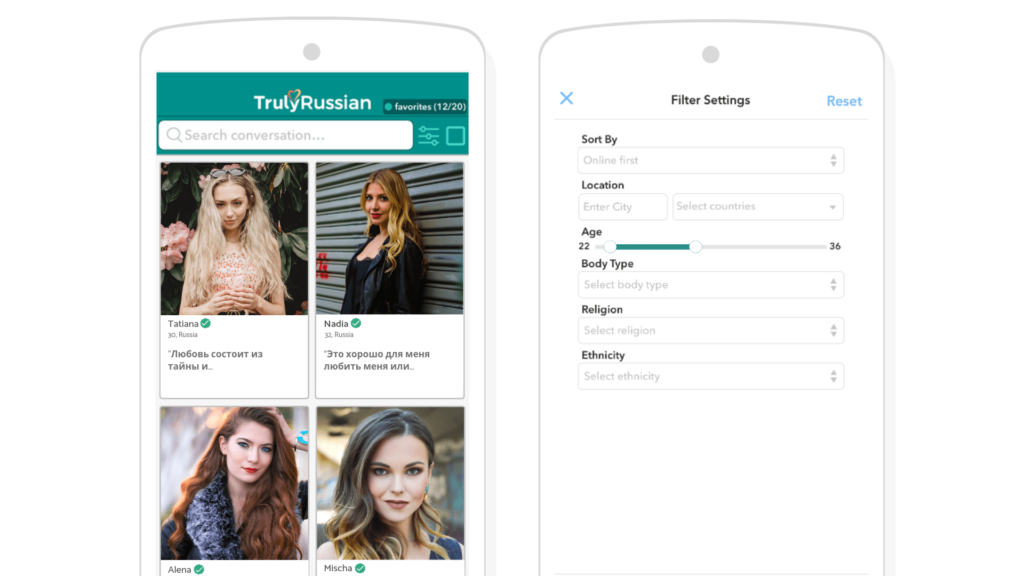 a preview of trulyrussian in a computer and smartphone