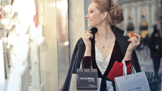 a Russian girl shopping at the mall